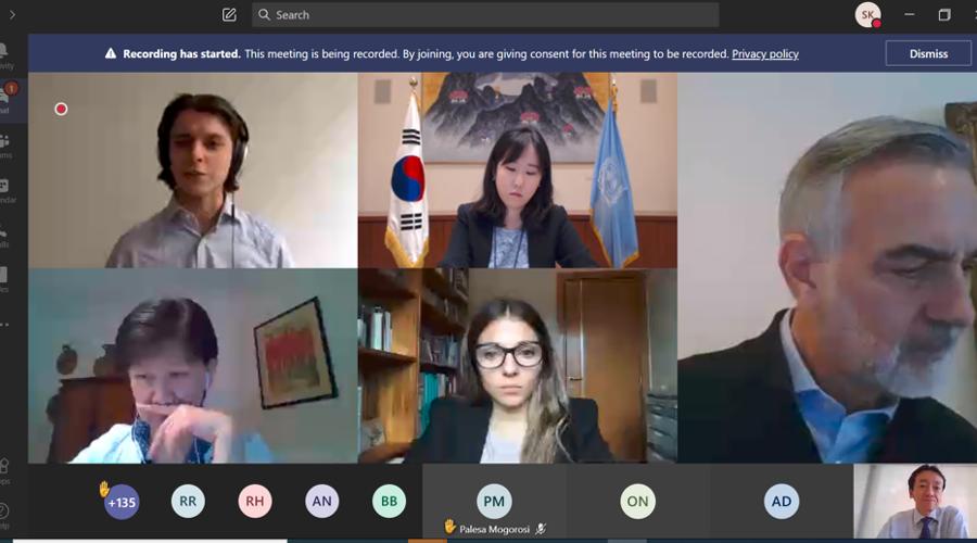 Screenshot of virtual meeting participants